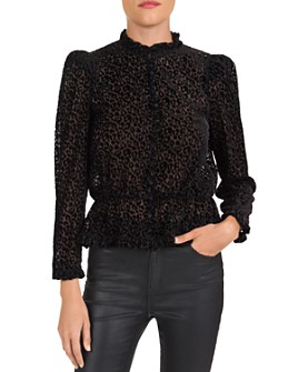 The Kooples - Leopard Devoré Front-Button Top