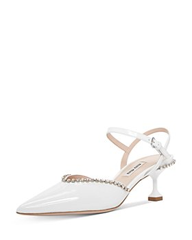 Miu Miu - Women's Crystal-Embellished Kitten Heel Pumps