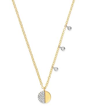Meira T 14K Yellow & White Gold Half Pave Diamond Disc Necklace, 18