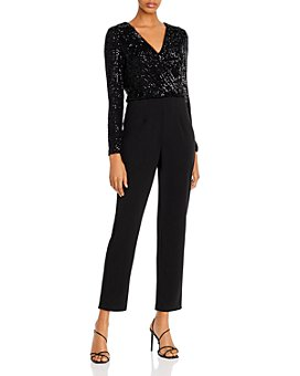 AQUA - Sequined-Crepe Jumpsuit - 100% Exclusive