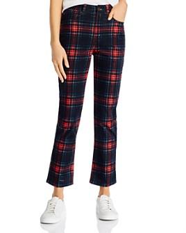 PAM & GELA - Plaid Velveteen Straight-Leg Jeans in Multicolor