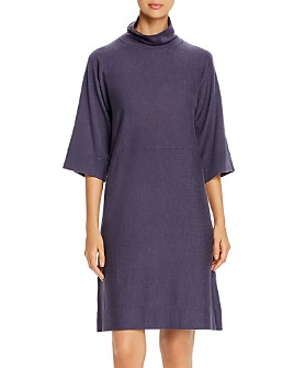 Eileen Fisher - Merino Wool Mock-Neck Dress