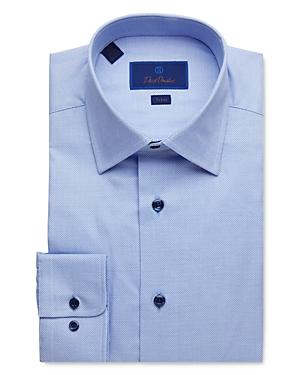 David Donahue Geo Weave Trim Fit Dress Shirt-Men