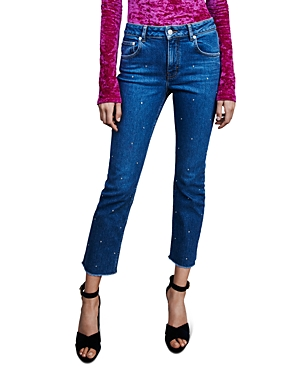 Maje Jeans PANNA EMBELLISHED HIGH-RISE STRAIGHT-LEG JEANS IN BLUE