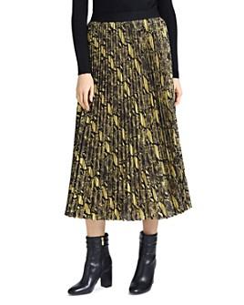 GUESS - Savina Pleated Snake Print Skirt
