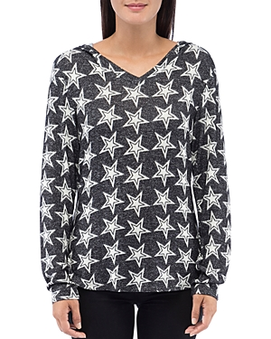 B Collection By Bobeau B COLLECTION BY BOBEAU COZY STAR-PRINT HOODIE