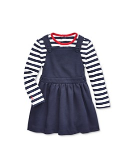 Ralph Lauren - Girls' Striped Tee & Overall Dress Set - Baby