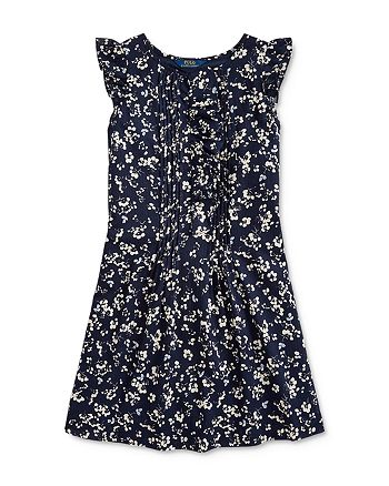Ralph Lauren - Girls' Pintucked Floral Print Dress - Big Kid