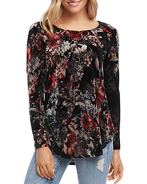Karen Kane Tops FLORAL VELVET-BURNOUT TOP