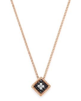"Roberto Coin - 18K Rose Gold Palazzo Ducale Black & White Diamond Pendant Necklace, 18"""
