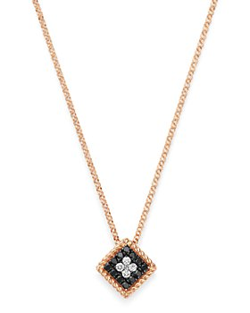 Roberto Coin - 18K Rose Gold Palazzo Ducale Black & White Diamond Pendant Necklace, 18""