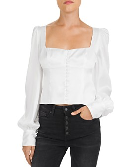 The Kooples - Front-Button Sateen Top