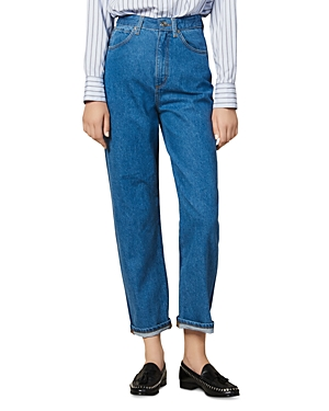 Sandro Jeans DUAL HIGH-RISE TWO-TONE JEANS IN BLUE JEANS