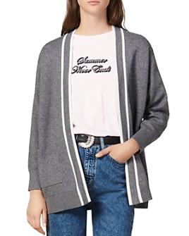 Sandro - Alize Striped-Trim Cardigan Coat