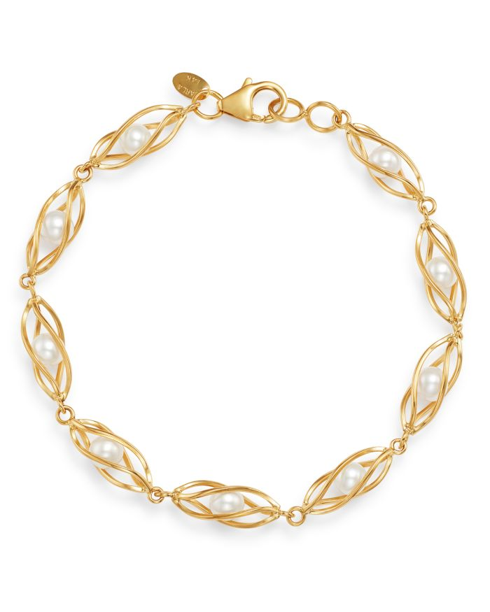 Bloomingdale's Freshwater Pearl Cage Bracelet in 14K Yellow Gold - 100% Exclusive     Bloomingdale's