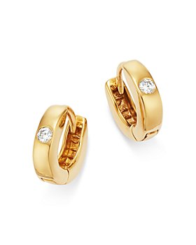 Bloomingdale's - Diamond Huggie Hoop Earrings in 14K Yellow Gold - 100% Exclusive