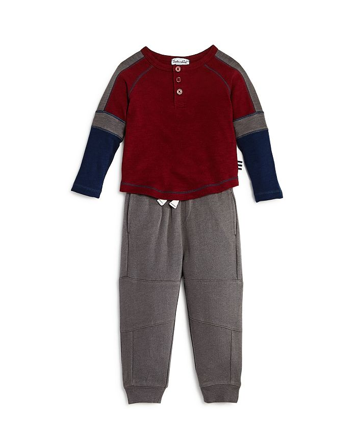Splendid - Boys' Color-Block Henley Tee & Jogger Pants Set - Baby