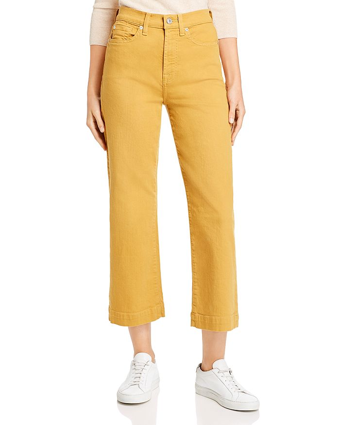 7 For All Mankind - Alexa Cropped Wide-Leg Jeans in Amber