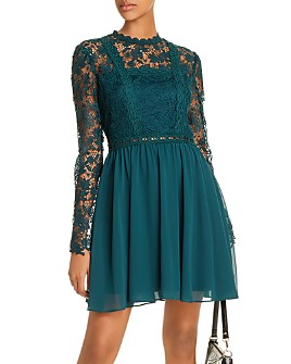 AQUA - Lace-Bodice Fit-and-Flare Dress - 100% Exclusive