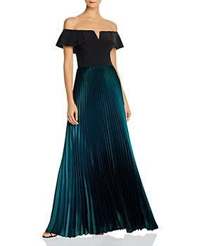 AQUA - Off-the-Shoulder Pleated Gown - 100% Exclusive