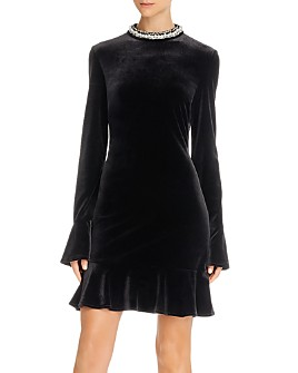 Betsey Johnson - Embellished Velvet Mini Dress