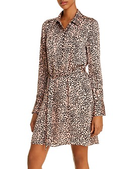 Equipment - Cheetah Print Belted Shirtdress