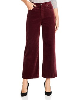 AG - Etta Crop Wide-Leg Velvet Jeans in Boysenberry