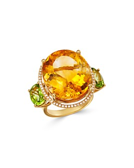 Bloomingdale's - Citrine & Peridot Statement Ring with Diamond Accents in 14K Yellow Gold - 100% Exclusive