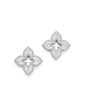 Roberto Coin - 18K White Gold Venetian Princess Diamond Stud Earrings