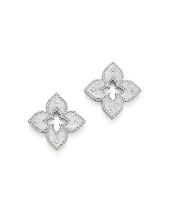 Roberto Coin - 18K White Gold Venetian Princess Diamond Stud Earrings