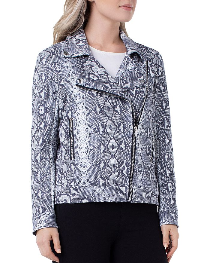 Liverpool Los Angeles - Python Print Faux-Suede Moto Jacket