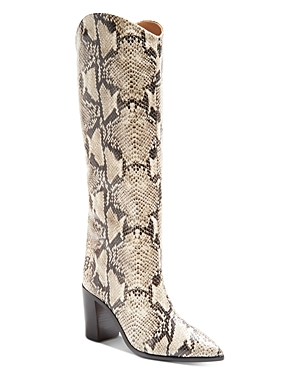 Schutz WOMEN'S ANALEAH CROC-EMBOSSED POINTED-TOE TALL BOOTS