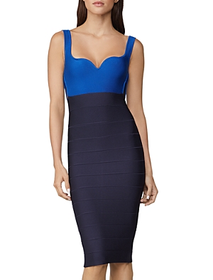 Herve Leger Cutout Midi Sheath Dress