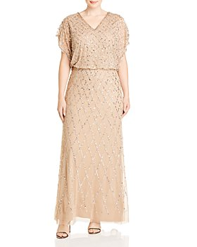 Adrianna Papell Plus - Blouson Sequined Gown