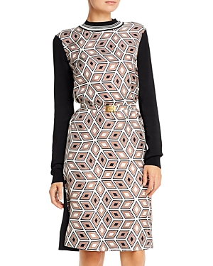 Tory Burch Dresses PRINTED SILK-FRONT SWEATER DRESS