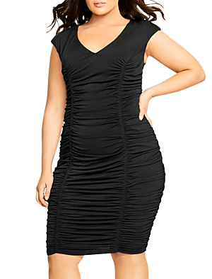 City Chic Plus Ruched V-Neck Dress