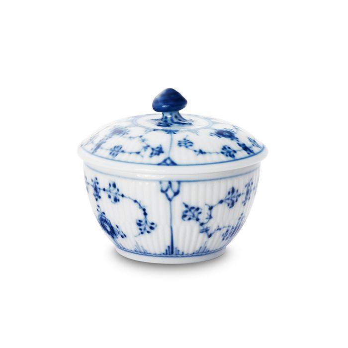 "Royal Copenhagen - ""Blue Fluted Plain"" Covered Sugar Bowl"