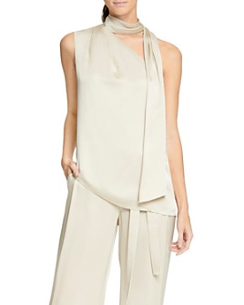 HALSTON - Asymmetric Scarf-Neck Top
