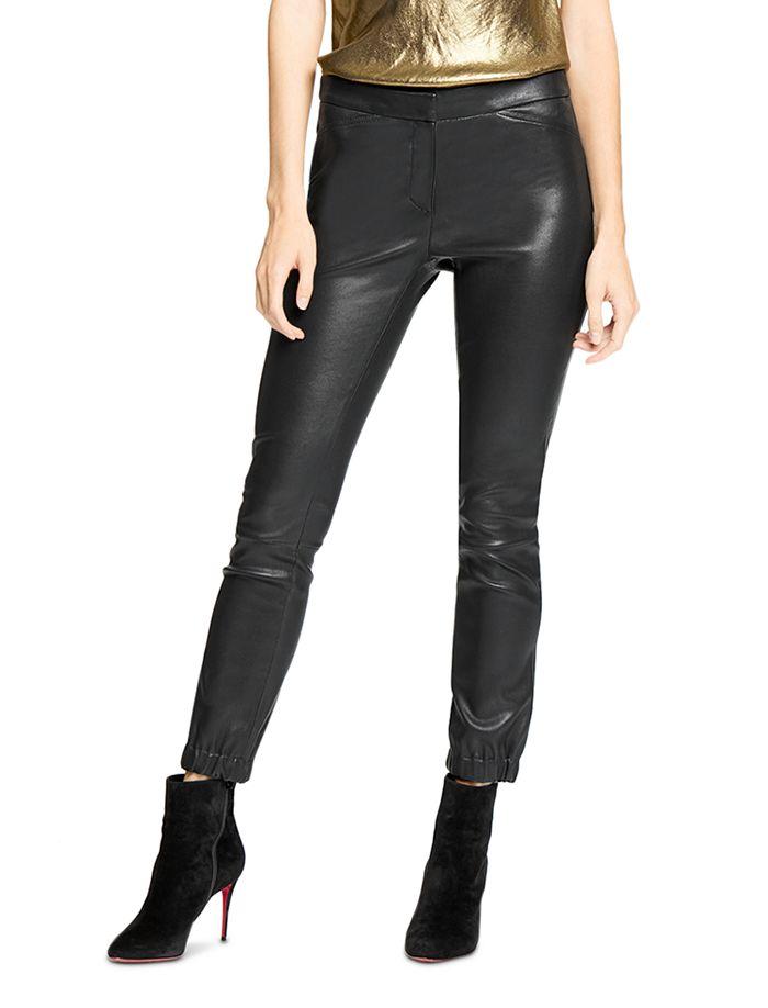 Halston Leather Stretch Leggings In Black