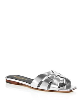 Saint Laurent - Women's Metallic Slide Sandals