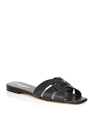 Saint Laurent Women's Nu Pieds Leather Slide Sandals