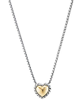 David Yurman - Sterling Silver Cable Cookie Classic Heart Necklace with 18K Yellow Gold