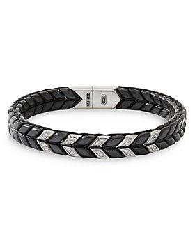 David Yurman - Sterling Silver Chevron Narrow Woven Bracelet with Black Titanium & Pavé Diamond