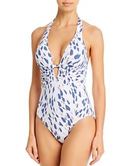La Blanca - Plunging Brushstroke Petal One Piece Swimsuit