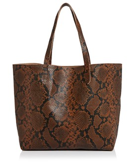 AQUA - Snake-Print Leather Tote - 100% Exclusive