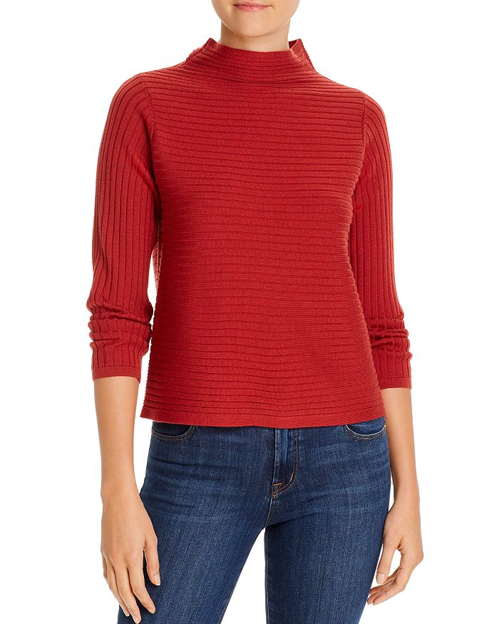 Eileen Fisher - Ribbed Funnel-Neck Sweater