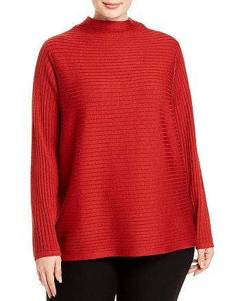 Eileen Fisher Plus - Ribbed Funnel-Neck Sweater