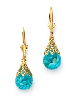 Bloomingdale's - Floating Turquoise Drop Earrings in 14K Yellow Gold - 100% Exclusive