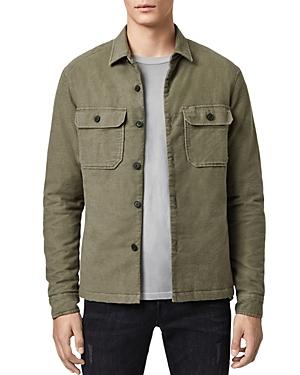 Allsaints Boldt Moleskin Regular Fit Shirt Jacket In Khaki Green