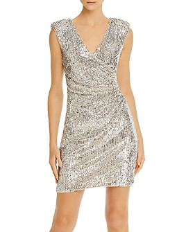 Aidan by Aidan Mattox - Sequined Faux-Wrap Dress